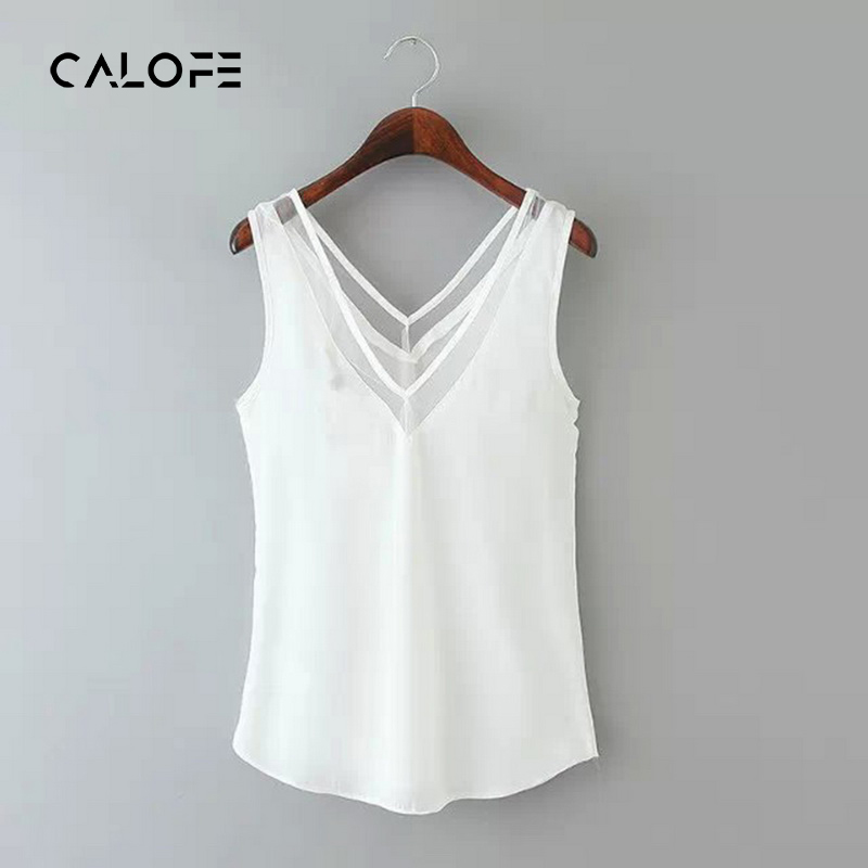 CALOFE Plus Size White Tank Tops Women Sleevless Casual Clothing Wear 2018 Summer Camis Brand Solid Black Tops Mesh Tunic