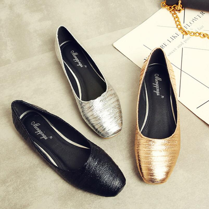 mules women gold/silver pleated summer flat shoes shiny leather ballet