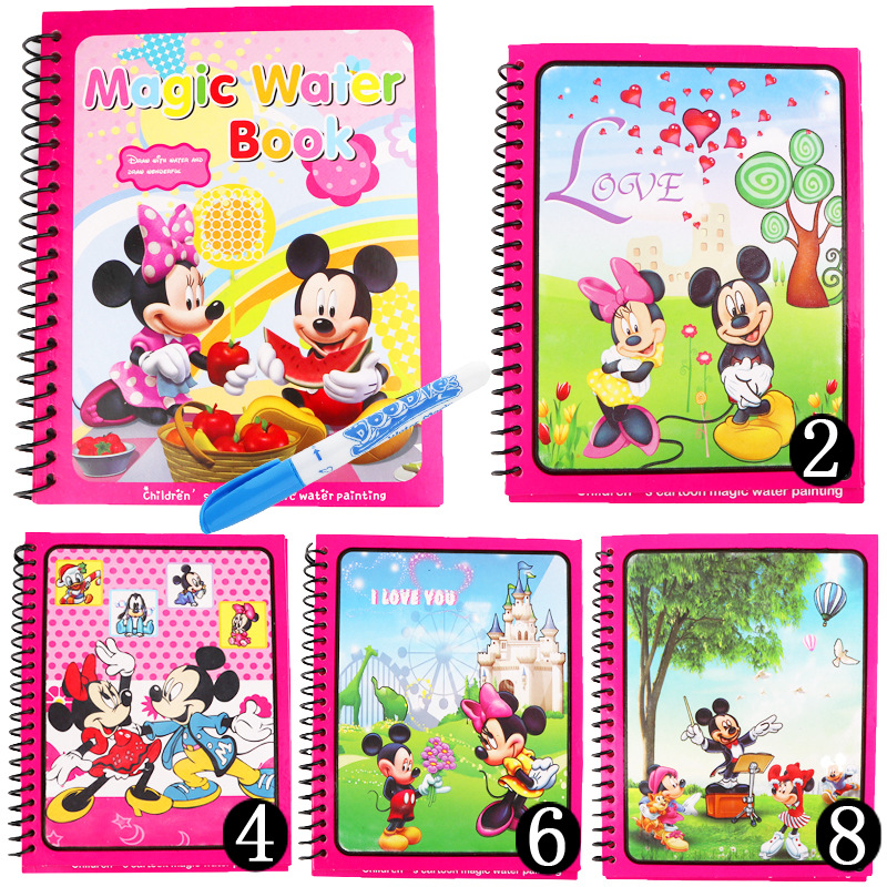 10 Types Magic Water Drawing Book Coloring Book Doodle & Magic Pen Painting Drawing Board For Kids Toys Birthday Gift Beneficial To Essential Medulla