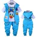 Retail!! Baby Girls&Boys Cotton Clothing Set,Children Cartoon Long Sleeve T-shirt+Pant+Vest.3Pcs Sport Clothing Suit 4Color