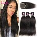7A Grade Peruvian Virgin Hair Straight With Lace Closure 3 Bundles With Closure Human Hair Weave With Closure Peruvian Straight