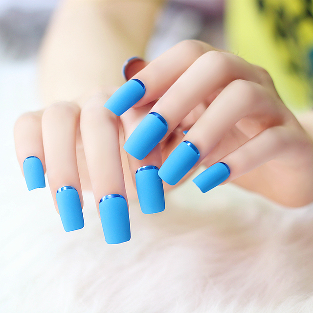 2017 Hot High Quality Sea Blue Matte Metal Manicure Long Full Cover False Nails With