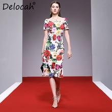 Delocah Women Spring Summer Dress Runway Fashion Designer Hlaf Sleeve Gorgeous Beading Appliques Flower Printed Mermaid Dresses