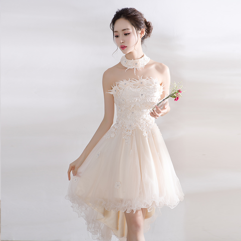 Lady Lace Floral Decoration Short Evening Dress Tulle Homecoming Party Dresses Elegant Vestido De Festa Prom Gown Beauty Emily