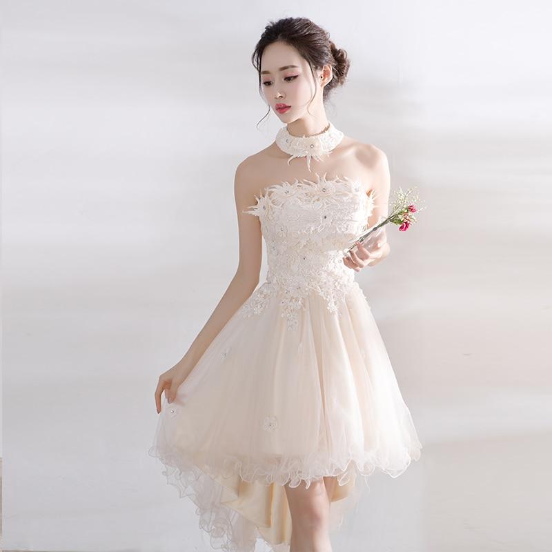 Dame dentelle floral décoration courte robe De soirée tulle retour robes De soirée élégant Vestido De Festa robe De bal beauté Emily