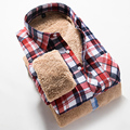 new winter warm thick fleece shirts men fashion casual velvet plaid shirts men high quality factory price