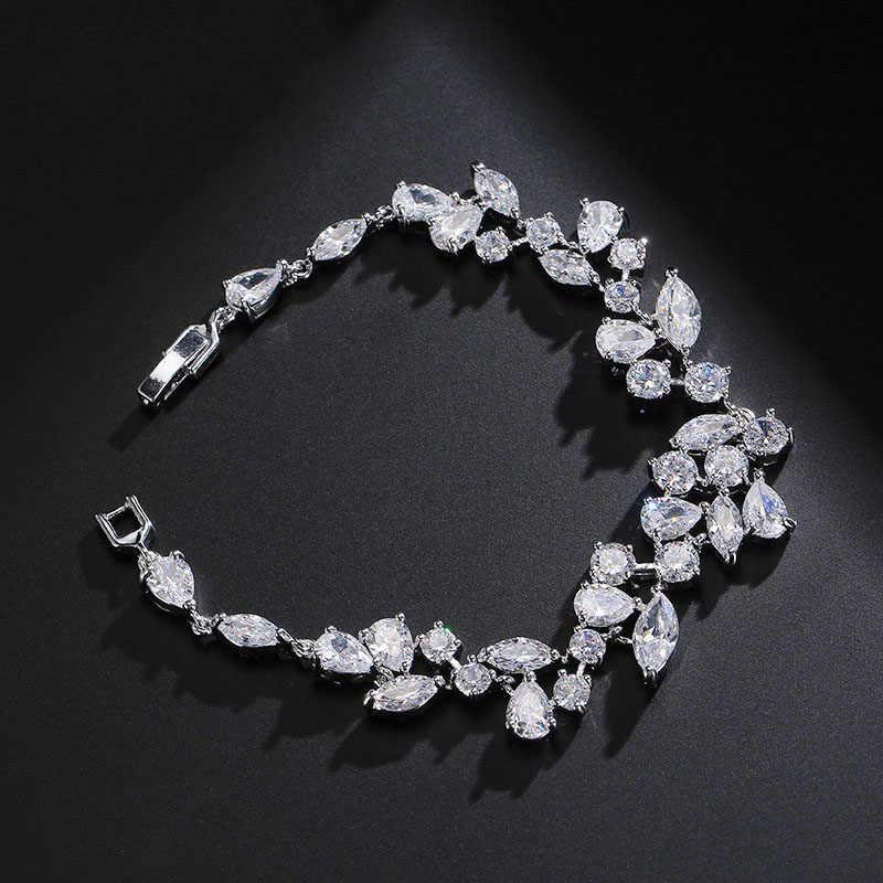 UILZ biały kolor kryształ austriacki kamienie Chaim bransoletki dla kobiet moda cyrkonia biżuteria ślubna UB014