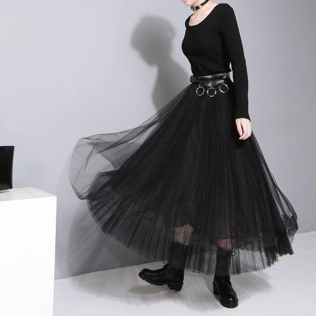 2016 otoño y el invierno de las nuevas mujeres de moda dress cintura del hilado neto de costura de punto elástico grande dobladillo dress