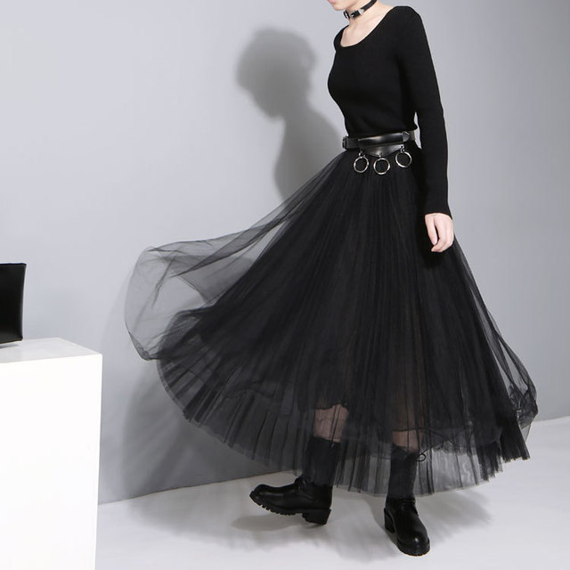 2016 outono e inverno das mulheres novas da moda dress costura malha líquido fios cintura elástica grande hem dress