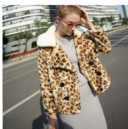Women Faux Fox Fur Jacket Leopard Short Setction Lapel Collar Winter Autumn Female Fur Jackets Casaco De Pele Faux Fur Coat C35