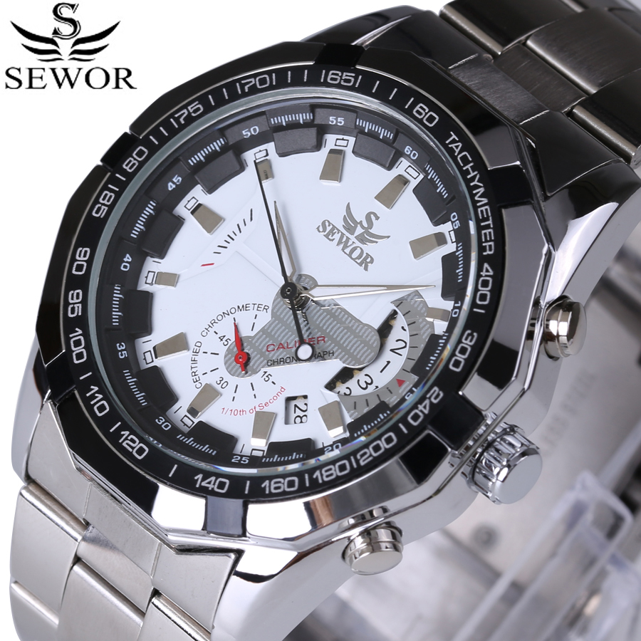 Rattrapante Date Men Watches 2017 New Top Brand Luxury Sports Automatic Mechanical Watch Full Steel Male Wrist Watches Reloj
