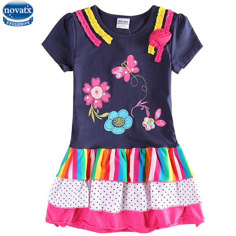 novatx H6146 new design girl dress summer floral style short sleeve embriodery flower tutu dress cute style high quality clothes цена и фото