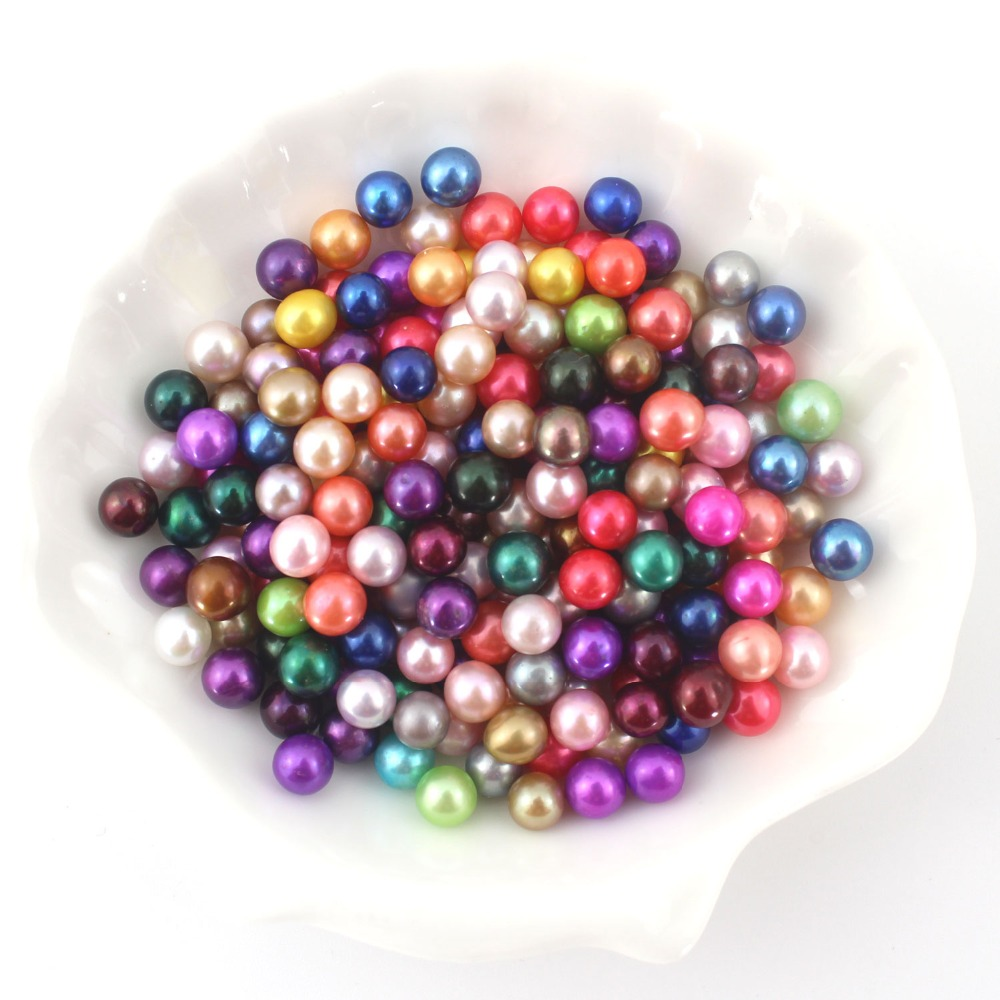 2019 Loose 100pcs AAA quality round Mix Colors Pearl Beads Freshwater Pearl Fashion Party Gift For