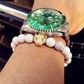 Fashion White Turquoise Stone Leopard Charm Bracelet Silver Color Stone Buddha Men Bracelets Women Bracelets Pulsera 2016 New