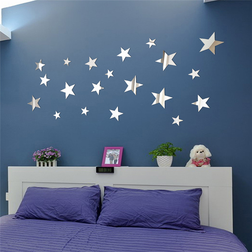 20PCS DIY Star Art Mirror Wall Sticker Acrylic wall stickers for living room bedroom Stickers ...