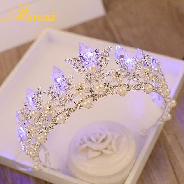 Butterfly Bridal Tiara Bridal Light Crown Girls Rhinestone Crystal Pearls Diadem Wedding Glowing Crowns Fashion Blue White Light