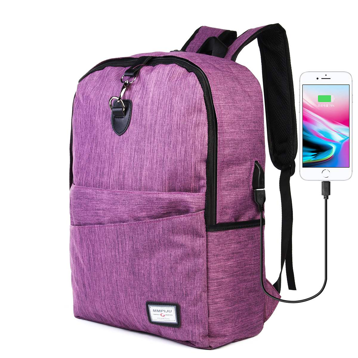 Colored Antitheft Backpack With USB Charge Port Lightweight Women Men Laptop School College Bag 2018 New Built in Hidden Zipper ...