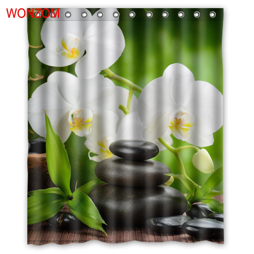 WONZOM SPA Waterproof Shower Curtain Bathroom Decor Jasmine Flower Decoration Serenity Cortina De Bano 2017 Bath Curtain Gift