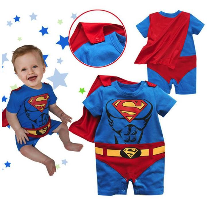 Baby Boy Romper Superman Long Sleeve with Smock Halloween Christmas Costume Gift Boys Rompers Spring Autumn