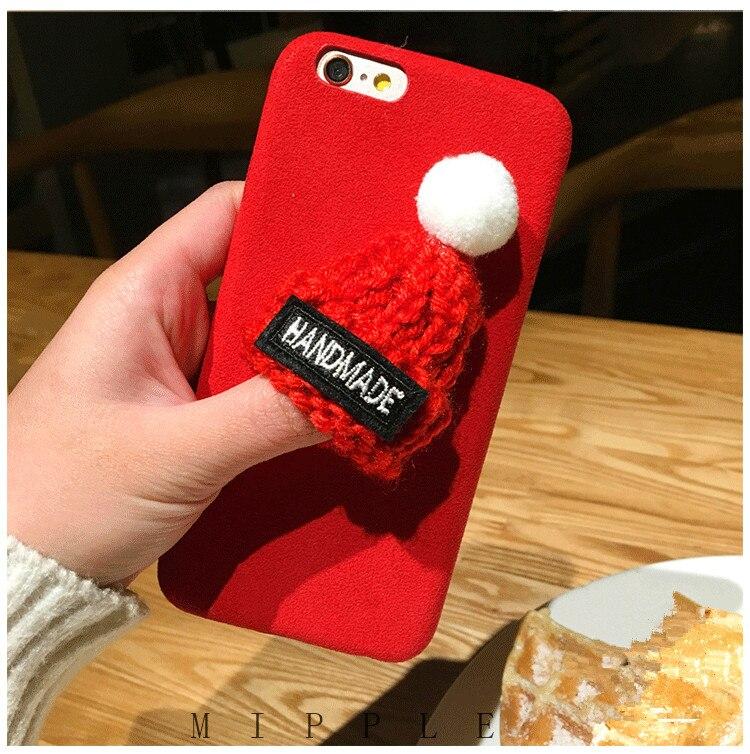 Galleria fotografica EMIUP Phone Cases for IPhone 6 6s Plus Case Coque Warm Fur Ball Plush 3D Hat Coqa Case for Iphone 7 7 plus Case 7Plus Cover