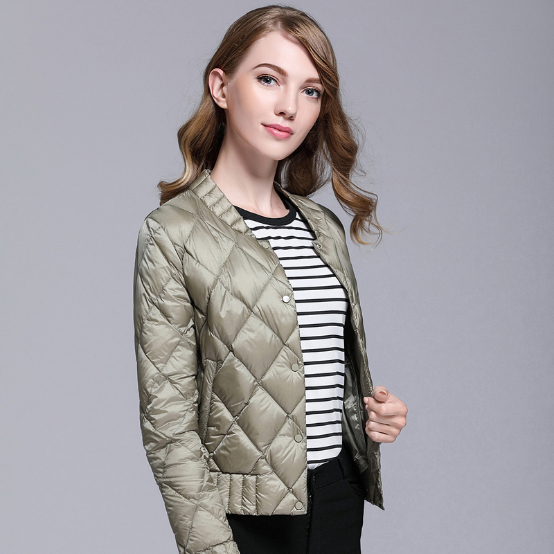 New Autumn Winter White Duck   Down     Coats   Women Lightweigh 90% Ultra Light   Down   Argyle   Coat   Plus Size Thin Slim Short Jacket Mw428