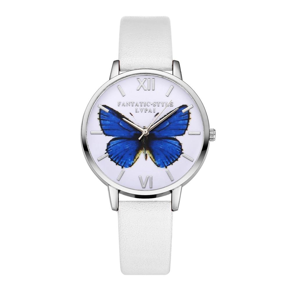 Women Watches Fashion PU Leather Butterfly Watch for Women