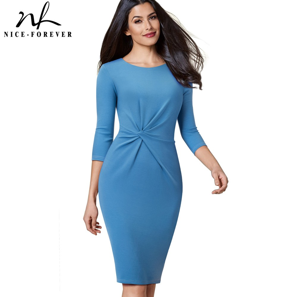 Nice-forever Vintage Pure Color Wear To Work Knot Vestidos Business Party Women Elegant Office Female Bodycon Dress B476