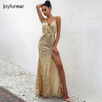 Winter Christmas Party Sexy Sequin Maxi Long Dress Sleeveless Strap V Neck Package Hip Cross Back