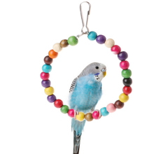 1pcs Pet bird supplies toy S M L size Wooden Birds Parrots Toys Stand Holder Hanging Swing Rings With Colorful Balls