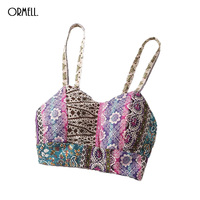 ORMELL Summer Women Print Short Crop Tops 2017 Floral Camisole Vest Sexy Sleeveless Strapless Tank Top