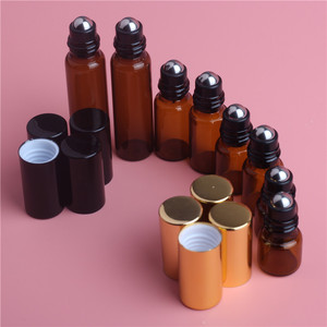Image 1 - 5pcs 1ML 2ML 3ML 5ML Amber Roll On Roller Bottle for Essential Oils Refillable Perfume Bottle Deodorant Containers with Gold lid
