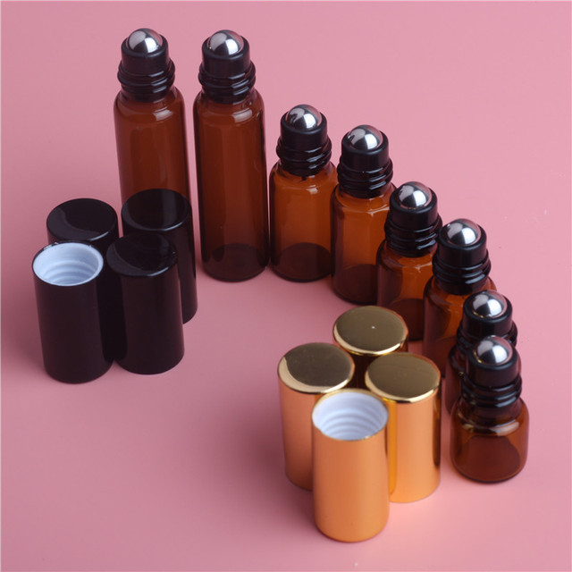 5pcs 1ML 2ML 3ML 5ML אמבר רול על רולר בקבוק עבור שמני אתריים למילוי בושם בקבוק דאודורנט מכולות עם מכסה זהב