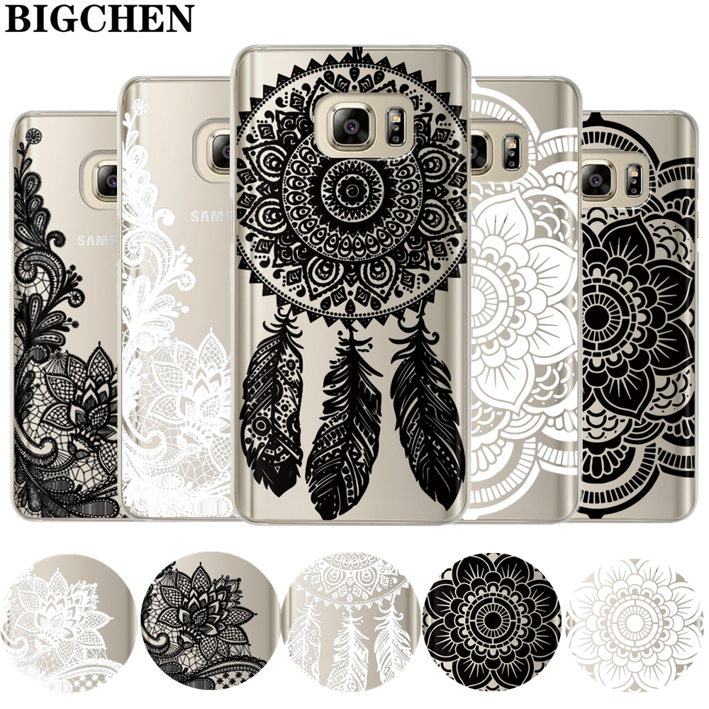 Floral Lace Mandala Case For Coque Samsung Galaxy Grand Prime S6 S7 Edge S8 Plus J2 J3 J5 J7 A3 A5 A7 15 2016 2017 Note 8 Cover