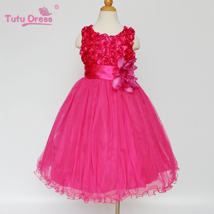 Hot Pink Flower Girl Dress Bow Sash Pageant Petals Wedding Bridal ...