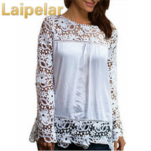 hot deal buy 2018 summer women white lace blouses shirts fashion chiffon blouses hollow out top female plus size women's clothing 6xl 7xl