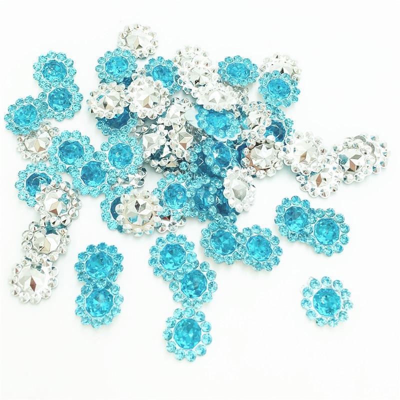 200 мм шт. 11 мм синий цвет кристалл акриловые горный хрусталь Круглый подсолнухи Аппликации/Свадебные Ремесло украшения