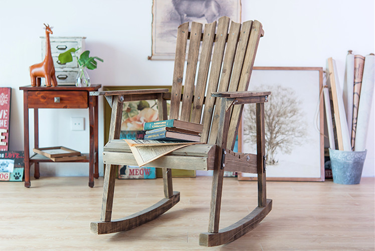 Outdoor Furniture Wooden Rocking Chair Rustic American Country Style  Antique Vintage Adult Large Garden Rocker Armchair Rocker In Garden Chairs  From ...