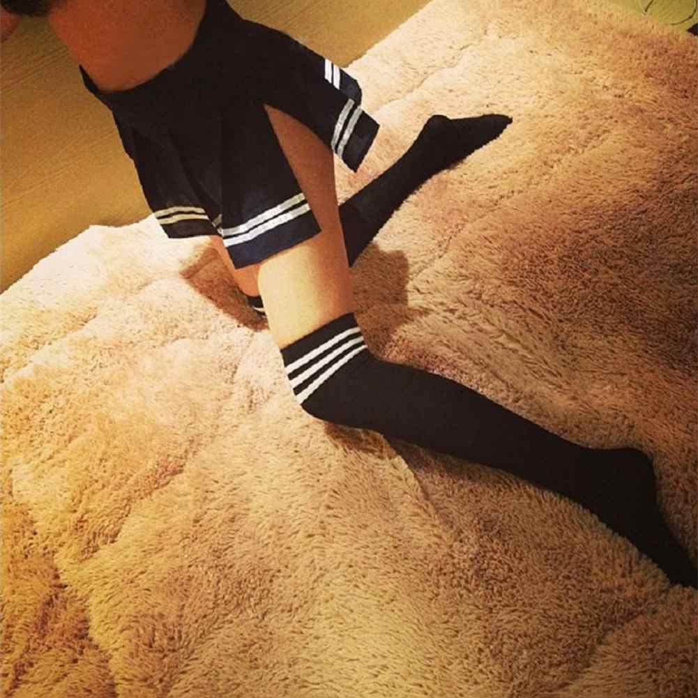 DSstyles เสื้อผ้าผู้หญิง Extra ยาวเซ็กซี่เหนือเข่าผ้าฝ้ายสีดำและสีขาวลาย