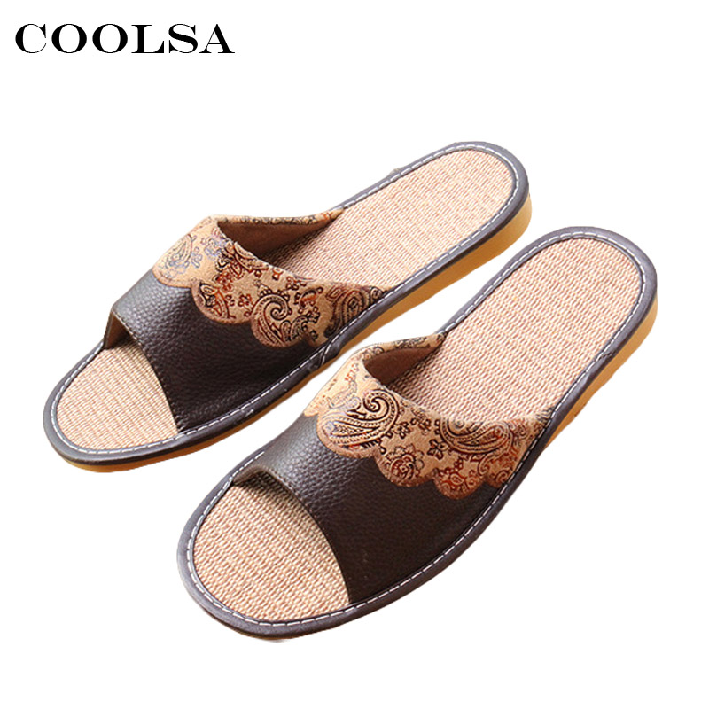 ... Slides Flat Flip Flop Flower Shoes. US  11.99. 2018 New Summer Men PU  Slippers Printing Paisley Flax Sewing Oxford Flat Non Slip Indoor Slippers e3a187d6d3a9