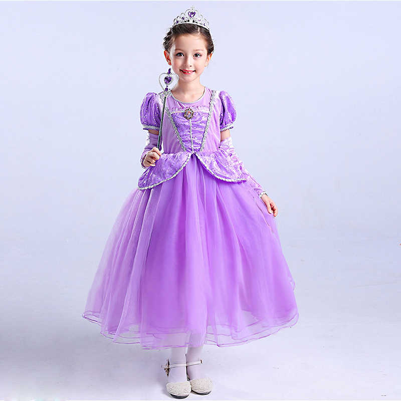 c9b2f51e9a PaMaBa 5Pcs Girls Sofia Dress Outfit Children Princess Costume Gown  Sequined Puff Sleeve Birthday Party Frocks with Gloves Crown
