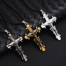 Antique Vintage Jesus Cross Pendant Necklace For Men Women Retro Male Pendants Necklaces Fashion Trendy Friendship Fine Jewelry(China)