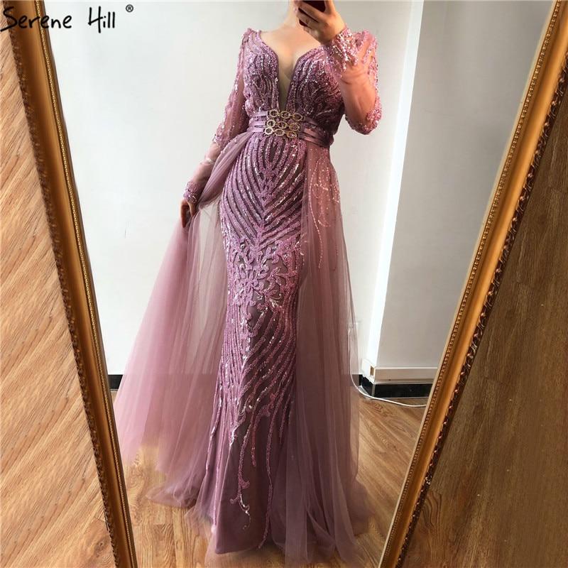 Blue Dubai Luxury Sequined Sparkle Evening Dresses Long Sleeve Beading Evening Gowns Serene Hill Plus Size LA60858 - Цвет: pink