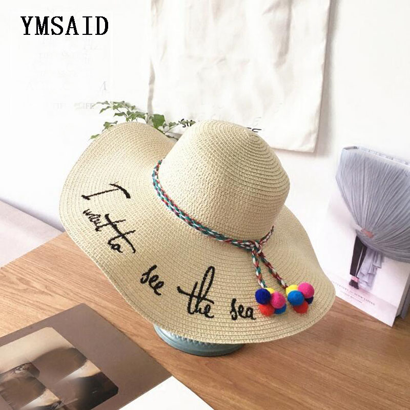 42d4bc6f4 Letter Embroidery Cap Big Brim Ladies Summer Straw Hat Youth Hats ...