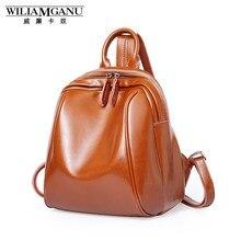 Wiliamganu Высокое качество коровьей рюкзак натуральная кожа Рюкзаки женщин школьная сумка рюкзак vintage Mini IPad сумка подарок 0870