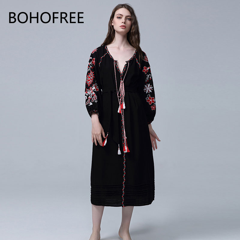 Longues Bohofree Robes Manches Bohème Robe Floral Broderie D'hiver As Femmes Col Kimono Chic Pic V À Femelle Gpysy Mujer Boho qRqwv8zr