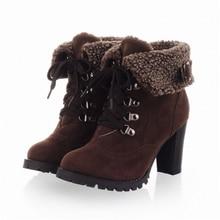 Зима женская мода плюс размер сапоги на высоком каблуке 2017 новый высокое качество хлопка теплые ботинки женщин низкая цена высокие каблуки