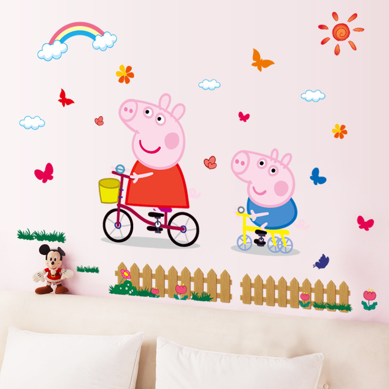Peppa Pig Free Shipping 3D DIY Photo PVC Wall Decals/Adhesive Family Walll Stickers Mural Art Home Decor 3d coconut tree beach sunshine pvc wall sticker sea water stone blue sky full color decals home decor page 2
