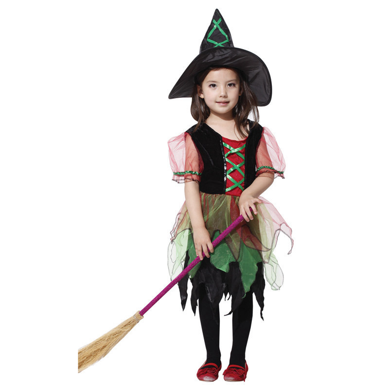 Witch Costume Fancy Children Halloween Masquerade Girls Dress Witch Clothing Kids Carnival Costumes Stage Performance Clothes