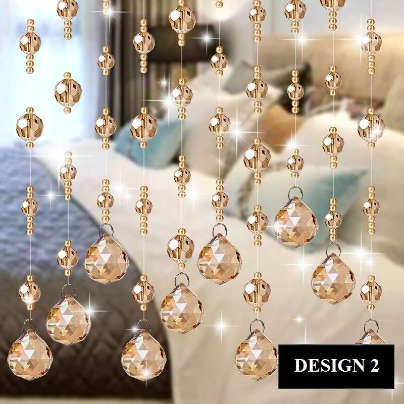 Perles de luxe à la main chaîne rideau en cristal pour intérieur mariage maison salon fenêtre porte décor - 5
