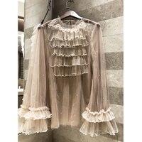 Women's mesh lace Beading Layered ruffle long sleeved shirt transparent retro casual shirt 2019 summer fashion shirt Silk lining